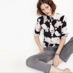 Madewell Black Rose Silk Shirt / S